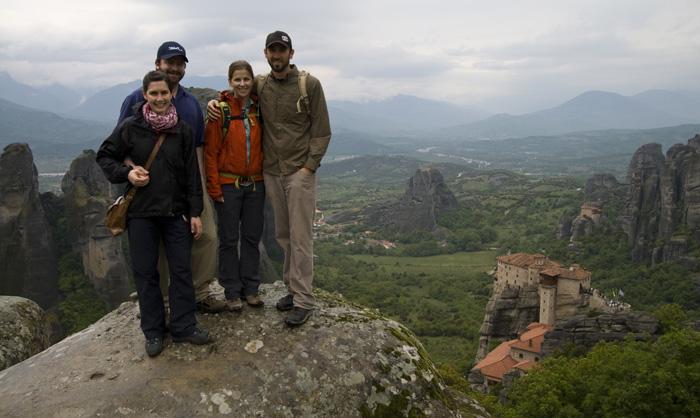 ET, Sally, Sam and Lisa with Moni Agias Varvaras Rousanou and Moni Agiou Nikolaou Anapafsa in the distance