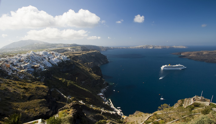 Fira and the southern end of Santorini as well as the eastern edge of Nea Kameni (the middle of the volcano)