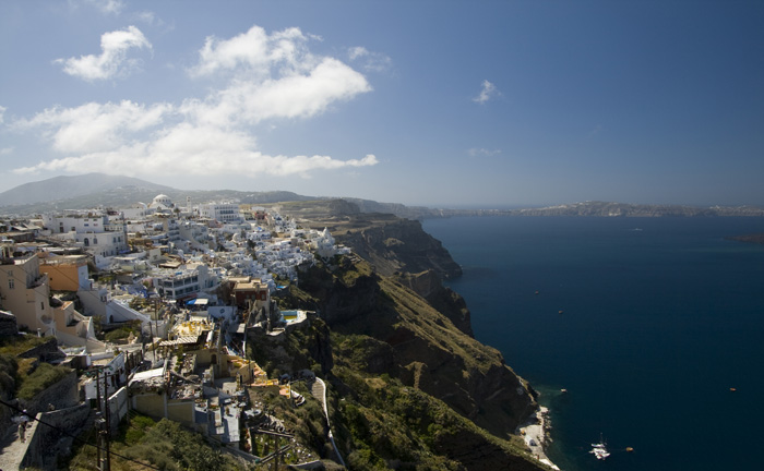 Fira and the southern end of Santorini
