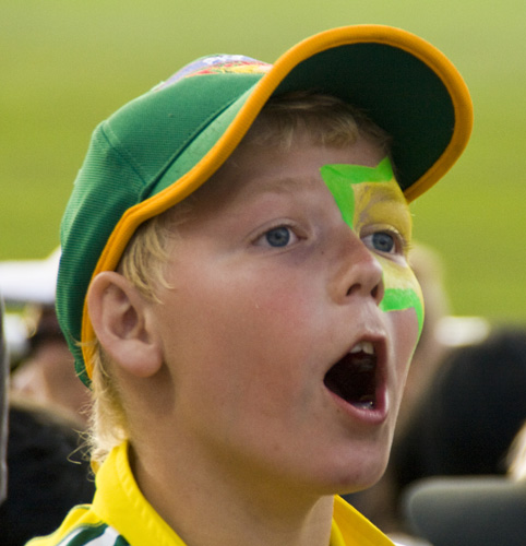 An excitable young spectator at the Twenty20