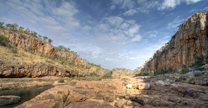 Walking between Katherine Gorge's first and second gorges
