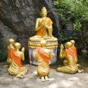 Buddha figures around Luang Prabang's central Phou Si