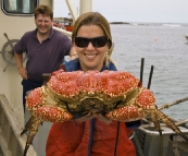 Lisa holding a Giant Crab
