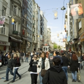 The bustling Istiklal Caddesi