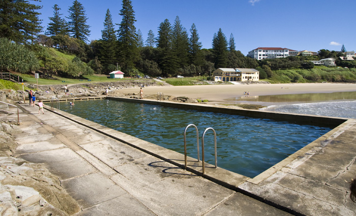 Taking a dip at the beach pool in Yamba