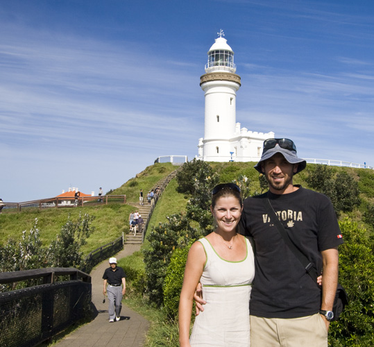 Lisa and Sam in front of the Cape Byron lighthouse