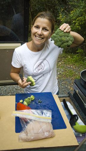 Lisa working on dinner in Border Ranges National Park