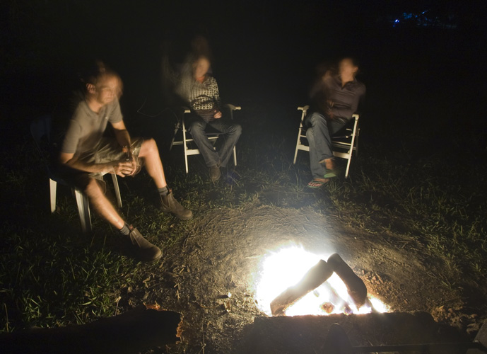 Lisa, Sam and Gina enjoying an amazing starry night by the fire in Mebbin National Park