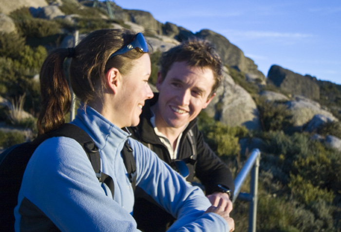 Abi and Will watching the sun rise from Eagles Nest