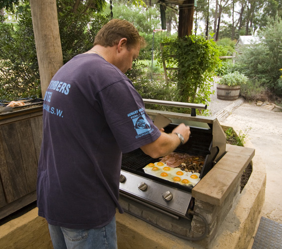 Andrew cooking up a storm for breakfast