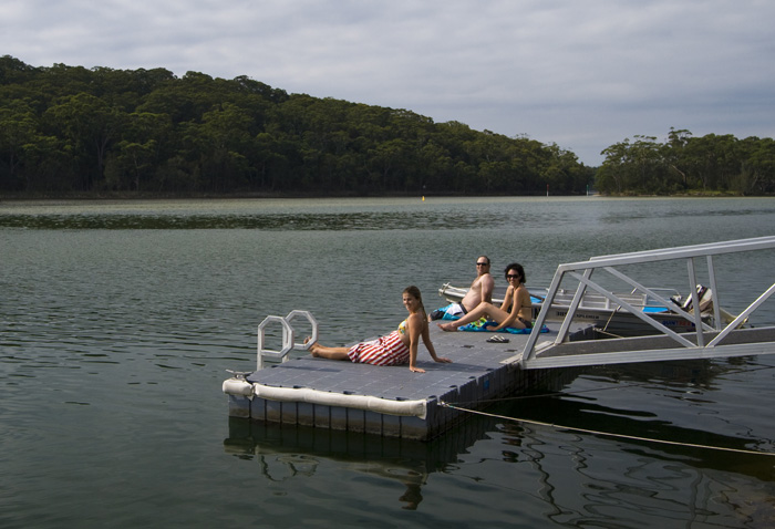 Lisa, Jarrid and Jacque relaxing at Lake Conjola