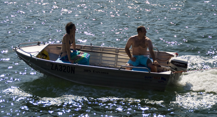 Jarrid and Jacque towing Lisa behind the boat