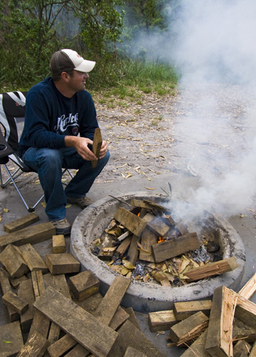 Jarrid getting the fire started at Mimosa Rocks National Park