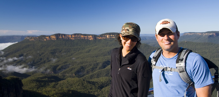 Jarrid and Jacque at Echo Point in the Blue Mountains National Park