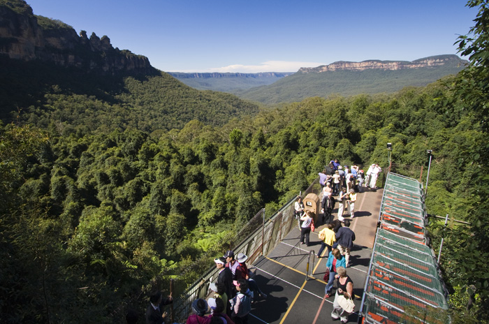 The Scenic Railway with the Three Sisters in the background