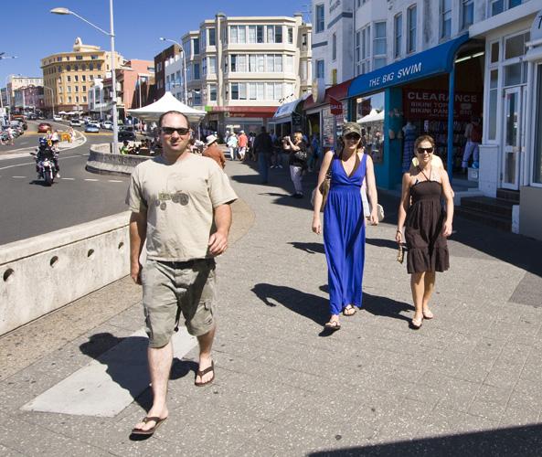 Jarrid, Jacque and Lisa cruising the esplanade at Bondi