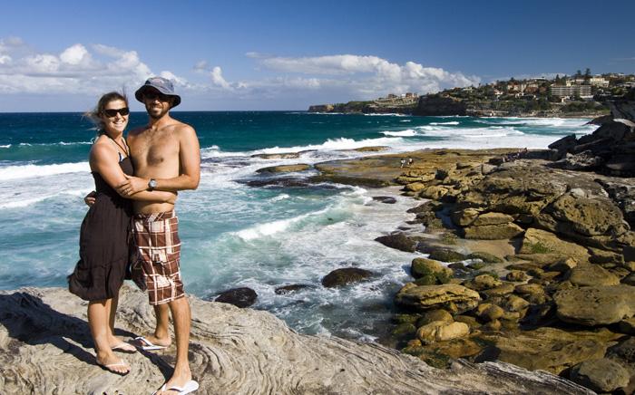 Sam and Lisa near Tamarama Beach on the walk between Bondi and Bronte