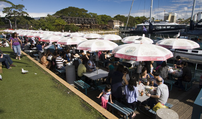 Dining on the water's edge at the Sydney Fish Market