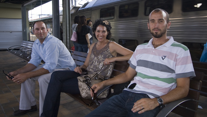 Jarrid, Jacque and Sam at Central train station