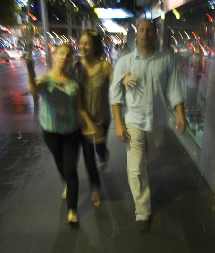 Walking through Sydney after dinner at BBQ King