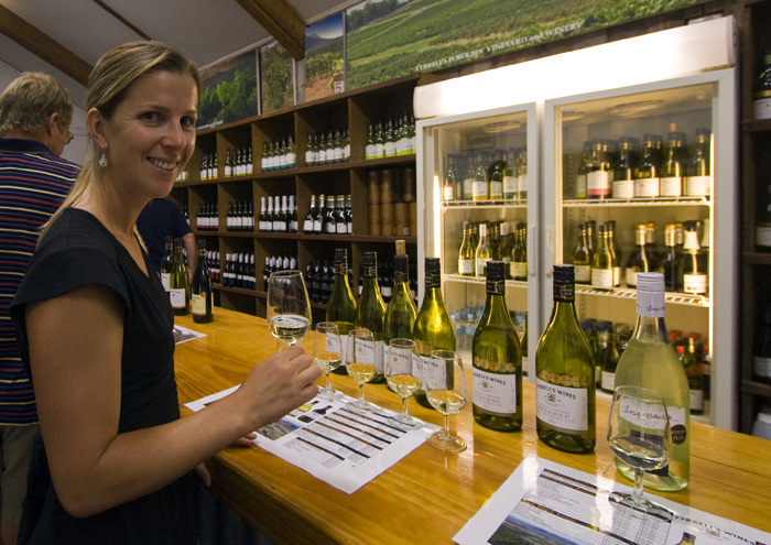 Lisa sampling the fare at Tyrell\'s Wines