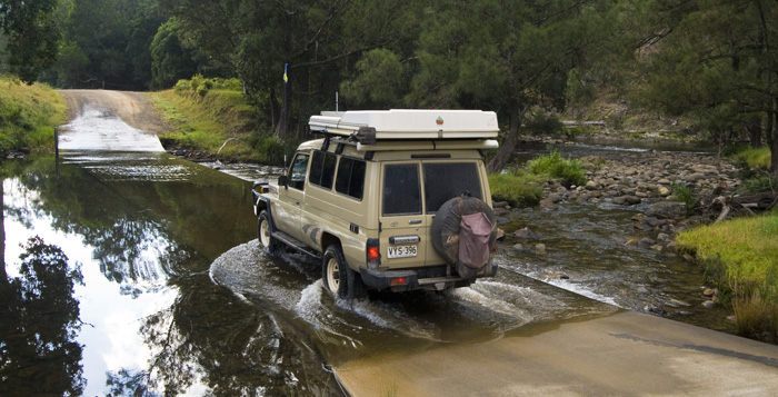 Crossing one of the many water-covered causeways into Barrington Tops National Park