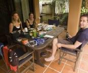 Lisa, Anna and Matt enjoying and outdoor breakfast