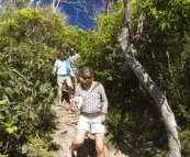 Tackling the hike down to Brays Beach at Broken Head