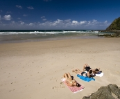 Relaxing on Brays Beach at Broken Head