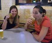 Lisa and Gina enjoying a couple of local brew at the Great Northern