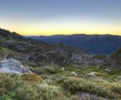 The mountain glow before sunrise on the way to Mount Kosciuszko