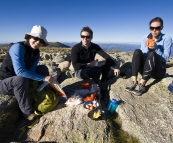 Lisa, Will and Abi having breakfast on the top of Mount Kosciuszko