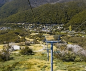 Riding the chairlift down to Thredbo village