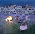 Jarrid enjoying the fire at Lake Conjola