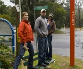 Lisa, Jarrid and Jacque waiting for the shuttle in Katoomba