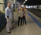 Jarrid, Jacque and Lisa waiting for the train at Hurstville