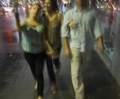 Walking through Sydney after dinner at BBQ King