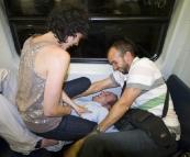 Jarrid enjoying his ride home on the train
