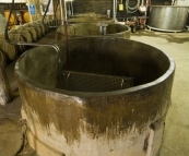 Open-top concrete fermenters at Tyrell\'s Wines