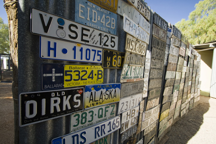 Number plate fence at the Daly Waters pub