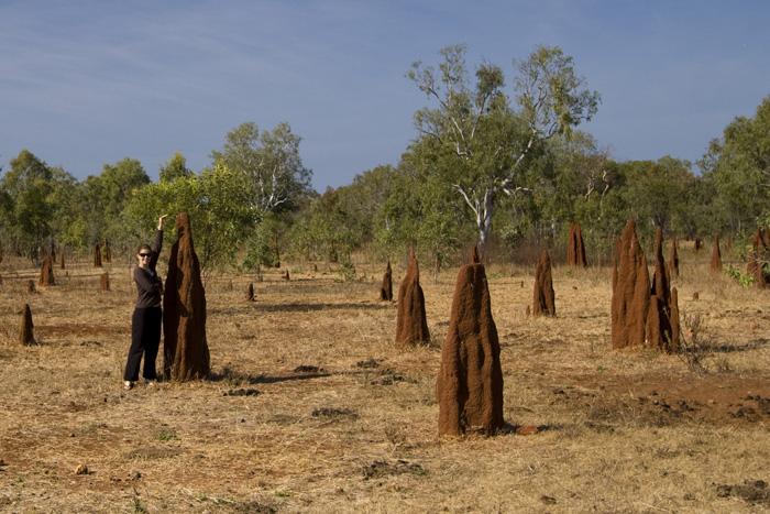 Lisa in a termite mound field in Mataranka