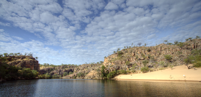 Katherine Gorge\'s first gorge and a crocodile nesting area in the sand