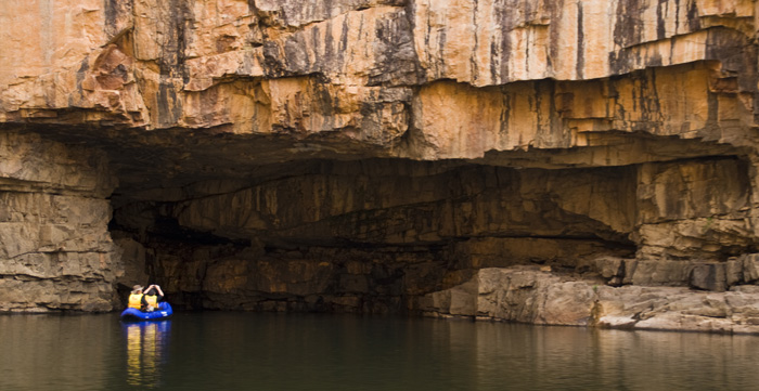 Kayakers at the mouth of Sparrow Cave in Katherine Gorge's second gorge