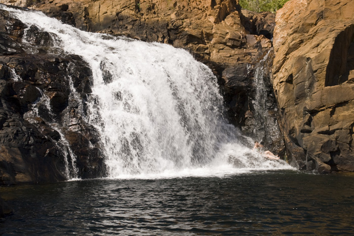 Lisa in the falls at Leliyn's upper falls