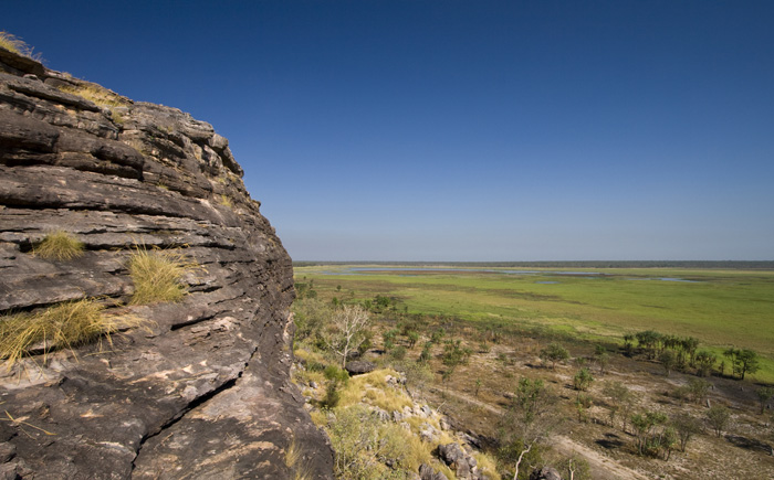 The edge of the sandstone escarpment and wetlands below at the Ubirr Aboriginal art site