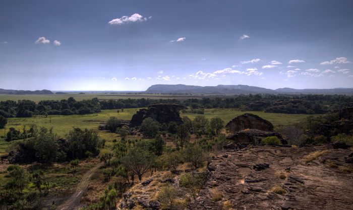 Looking out from the top of the sandstone escarpment at Ubirr into Arnhem Land