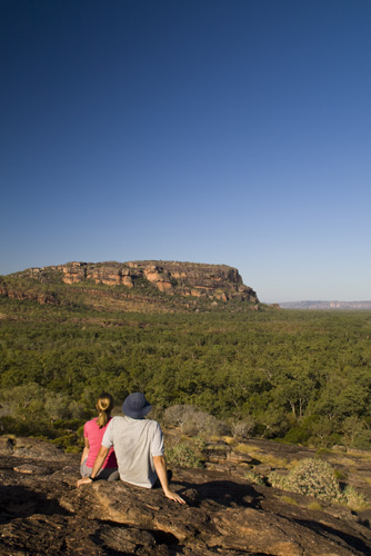 Sam and Lisa in front of the Arnhem Land escarpment at Burrunggui