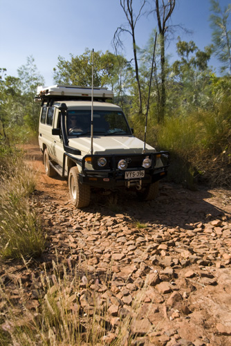 Lisa driving on the track out of Gubara Pools