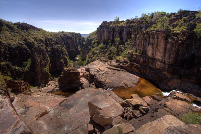 The top of Twin Falls and the gorge in the distance