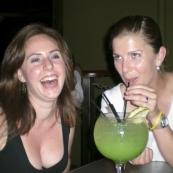 Margot and Lisa enjoying an Illusion at the Tap Bar